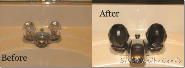 bathroom renovation using rustoleum oild rubbed bronze spray paint upstairs faucet before after
