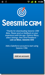 Seesmic CRM Add Account Screen