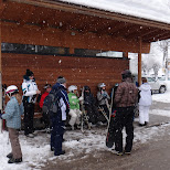 waiting for the wintersport bus in Seefeld, Tirol, Austria