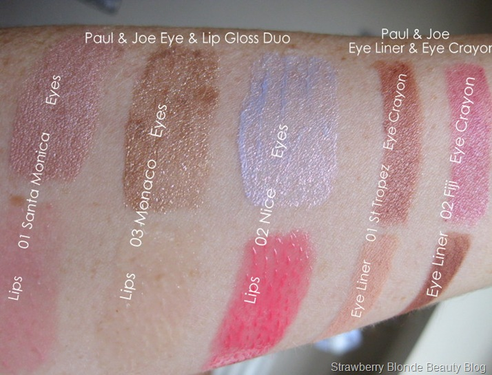 Paul-and-Joe-Eye-Lip-Duo-swatches-Fiji-St-Tropez-Monaco-Santa-Monica-Nice