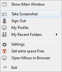 Контекстное меню программы Minus