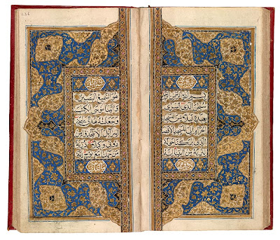 "Qur˒an from Kashmir Qur˒an, in Arabic. Northern India, Kashmir, ca. 1800. On paper. Qur˒ans were written by hand well into the nineteenth century, and many copies were produced about 1800, when Kashmir was still under Muslim rule. They differ from contemporary Turkish Qur˒ans, which usually provide a date and name of the scribe. The type of decoration found on this double-page sarlauḥ represents typical Kashmiri work of about 1800. This Qur˒an has been divided into sevenths (manzil), one to be read each day of the week, much like the Psalter. Here the double-page sarlauḥ marks the beginning of the fourth division, suras 17 (Bani Isrā-il or ""The Israelites"") to 25 (al-Furqān or ""The Criterion""). The script is naskh, the sura headings are in white, and gold dots follow verses."