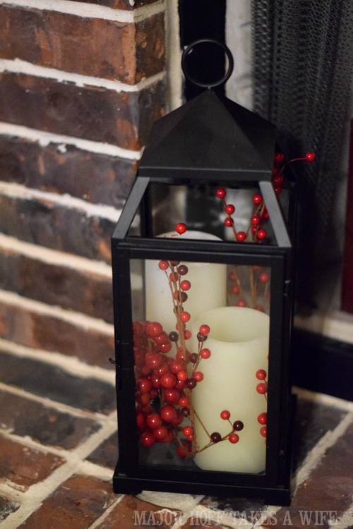 Decorate a Lantern for Christmas with berries