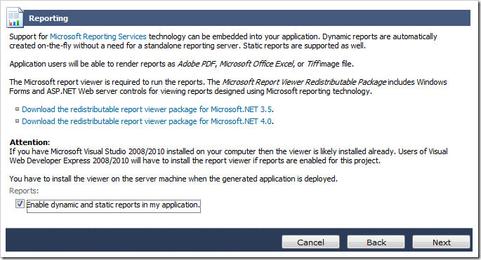 Enabling reporting for the generated web application.