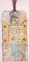 time flies clock crown collage tag