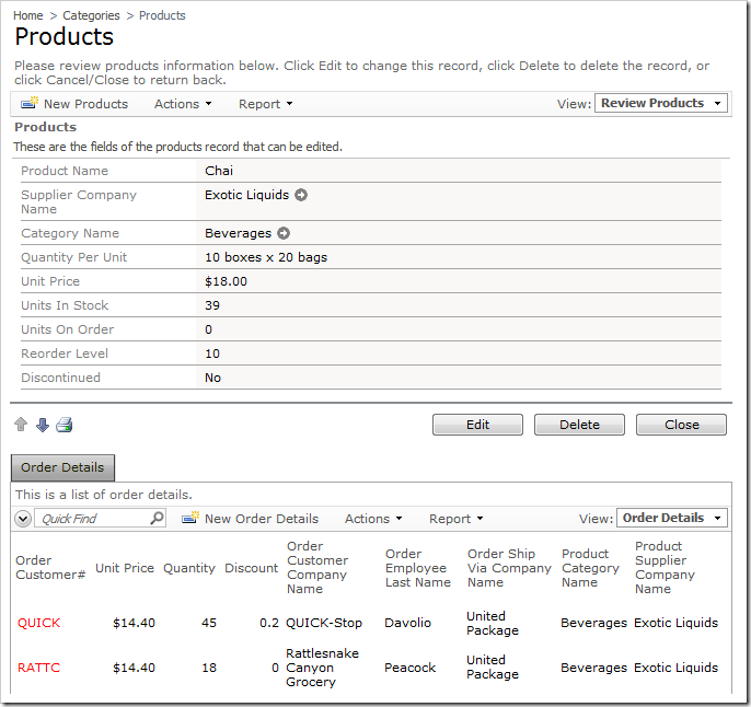 Products edit form with action buttons only below the form.