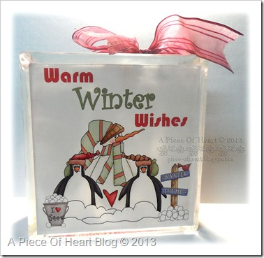 Warm Winter Wishes Snowman Glass Block