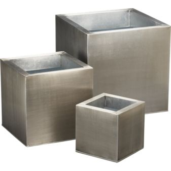 I'm really drawn to modern planters. There's something great about combining natural pieces with industrial metal boxes. (cb2.com)