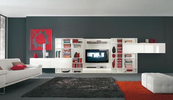 Mueble de TV blanco negro y rojo