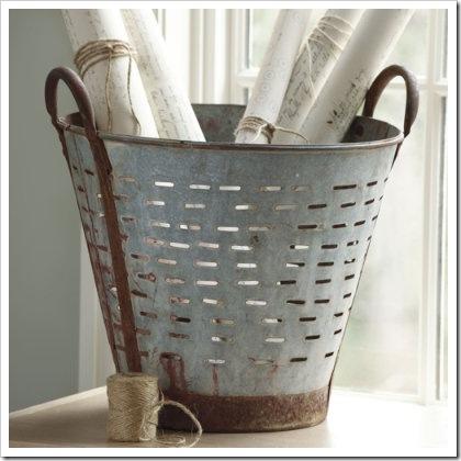 Found Olive Bucket