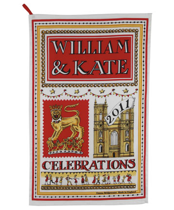 A commemorative tea towel makes a fitting English wedding gift. (liberty.co.uk)