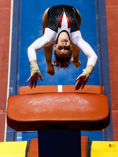 Utah's Stephanie McAllister on vault as the University of Utah hosts Georgia at the Huntsman Center, college gymnastics Friday, February 3, 2012 in Salt Lake City, Utah