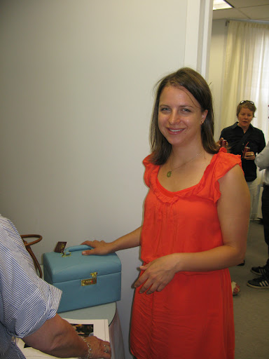 Jane Ventresca from our events team poses with a pretty blue jewelry box that was on display.
