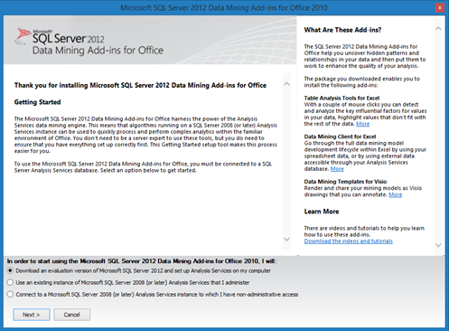 SQL Data Mining Add-in for Office 2010