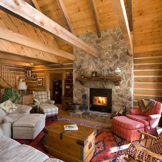 Rustic living room of Ecolog cottage in Haliburton County, Ontario