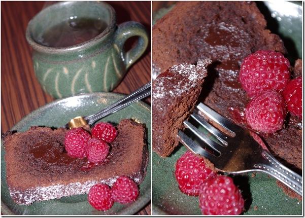 czekoladowe ciasto z maliną