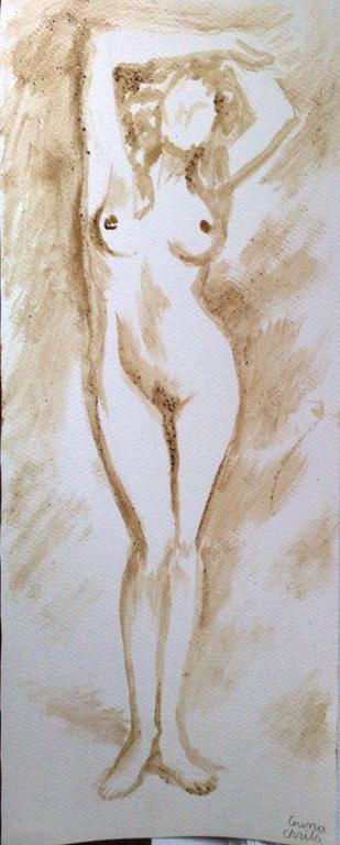 femeie nud fara chip - Pictura facuta cu cafea