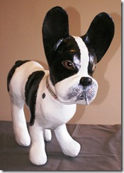 Completed french bulldog sculpture