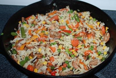 Veggie Sausage Stir-Fry w rice