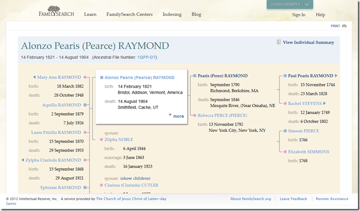 New FamilySearch.org Ancestral File pedigree chart