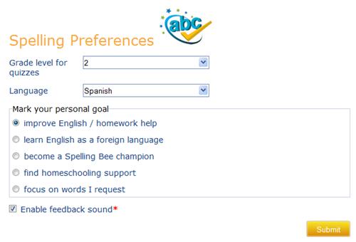 k5 spelling preferences