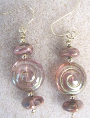 Earrings 8.23.11 dangle pinkish bronze