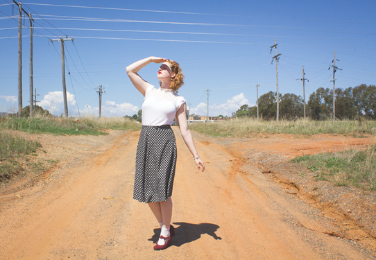 A skirt and a soft tee make for a comfortable, yet stylish 'round about outfit | Lavender & Twill