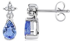 Pear Tanzanite and Diamond Dangling Earrings