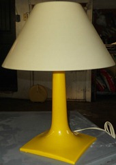 yellow square base table lamp
