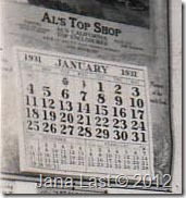 1931 Calendar at Mechanic's Garage where Arthur Harry Iverson worked