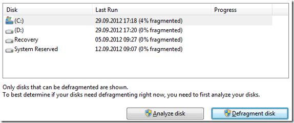 Windows Defragmenter