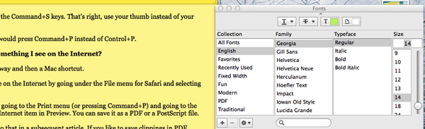 Font Menu for Stickies