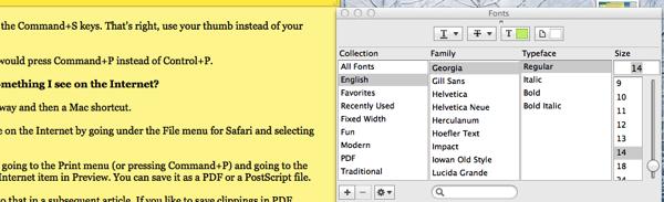 Font Menu for Stickies