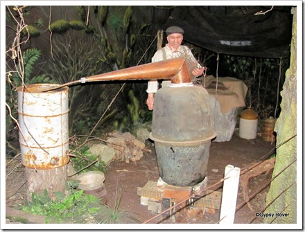 A Hokonui moonshine still hidden in the bush.