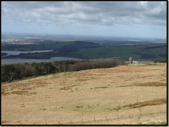 The view across Lancashire from Rivington Pike Tower