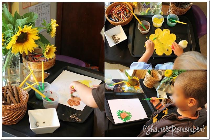 sunflower painting preschool art