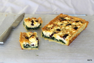 Olive, Spinach and Pinenut tart pieces