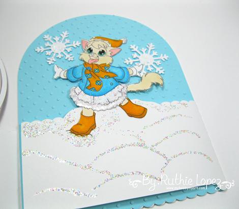 Inky Impressions. Snow kittie. Snowglobe Card.  Ruthie Lopez..3