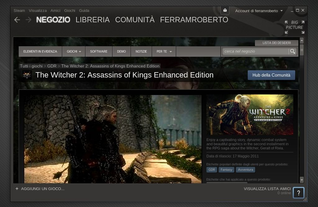 The Witcher 2: Assassins of Kings in Steam for Linux