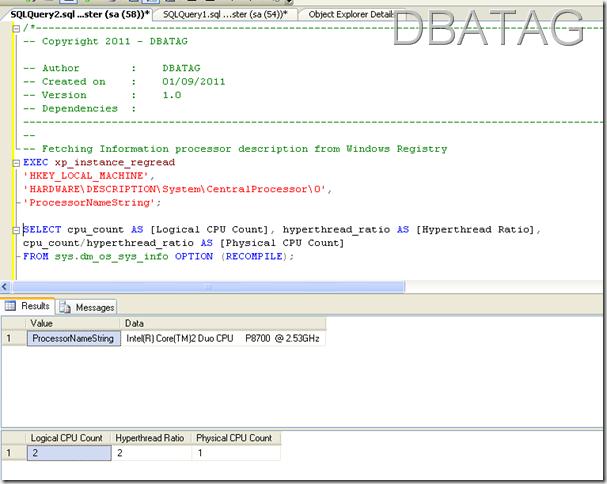 SQL Script to get Server CPU Information SQL Script to get Server CPU Information