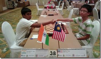 V Karthik of India vs Yeoh Li Tian of Malaysia, round 6, BCC2013