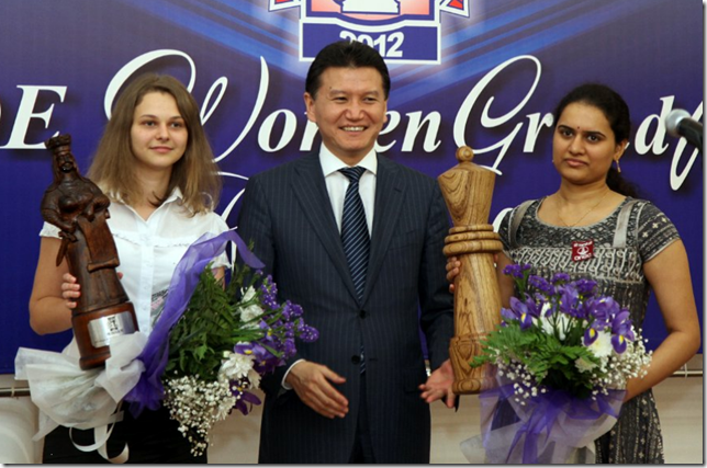 Humpy Koneru, India and Anna Muzychuk, Slovenia with Kirsan
