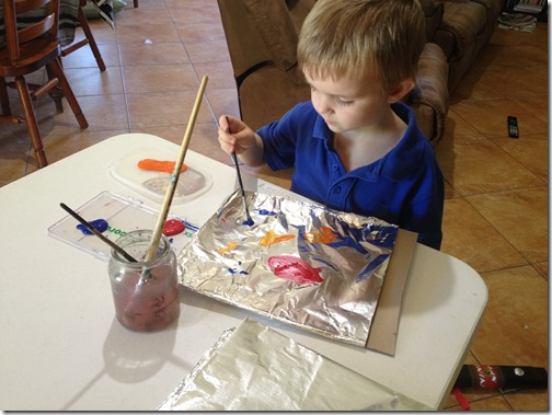 Painting on Foil Creative Table