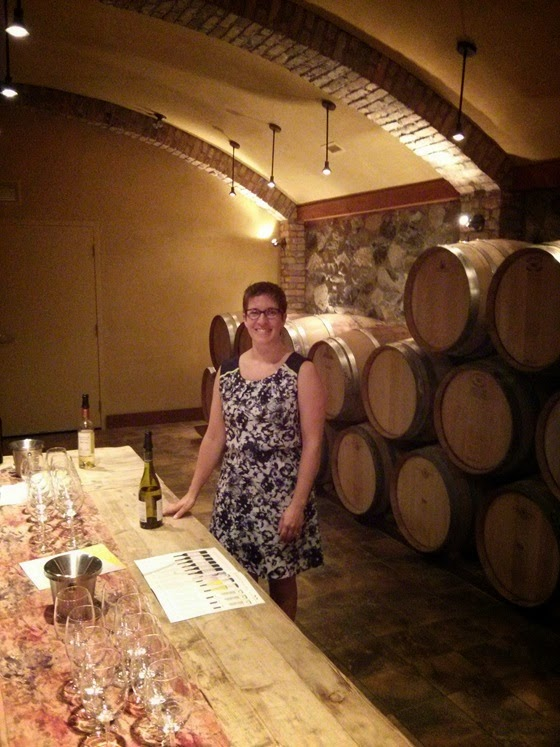 Sarah holds court in the Hester Creek Barrel Room
