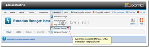 tukar templet Joomla 1.7 - capai template manager