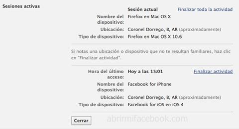 Cerrar sesiones en Facebook