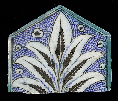 Tile | Origin: Syria or Egypt | Period:  15th century | Collection: The Madina Collection of Islamic Art, gift of Camilla Chandler Frost (M.2002.1.768) | Type: Ceramic; Architectural element, Fritware, underglaze-painted, Height: 5 7/8 in. (14.92 cm); Width: 6 15/16 in. (17.62 cm); Depth: 5/8 in. (1.59 cm)