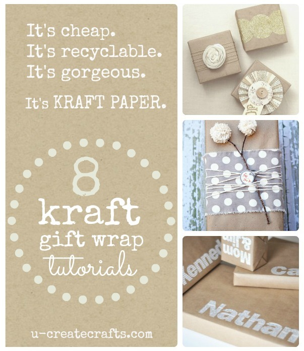 8 Simple Kraft Paper Gift Wrap Ideas! ucreateparties.com
