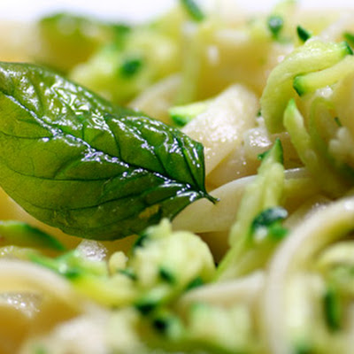 Fettucine with Zucchini and Crispy Basil