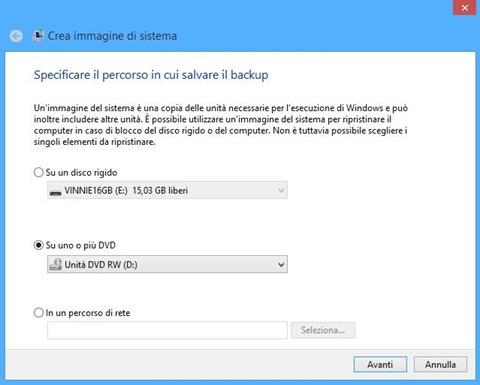 Windows 8 Specificare il percorso in cui salvare il backup